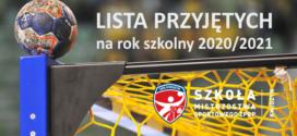 Lista przyjętych do NLO w Kwidzynie SMS ZPRP na rok szkolny 2020/21